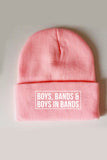 Boys, bands & boys in bands beanie in Pink