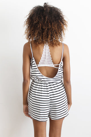 Tiphanie Striped Low Back Playsuit
