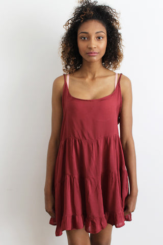 Trapeze Dress in Burgandy