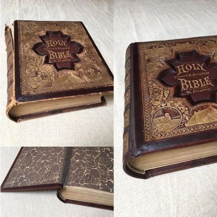 Images of book with damaged spine before and after repair.