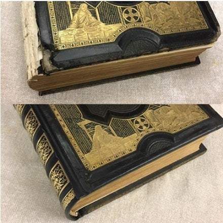 Book with missing spine before and after repair.