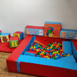 Crayon Ball Pall with Soft Play Cubes to Hire - Games2Hire
