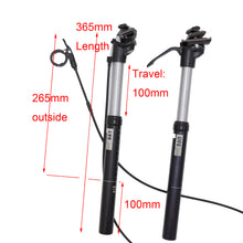 Load image into Gallery viewer, MTB Dropper Seatpost 100mm Travel Remote/Manual Kindshock Exaform