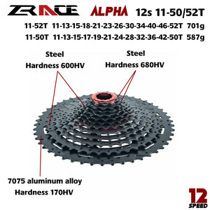 12x Speed MTB Lightweight Cassette 11-50T/52T ZRACE Alpha