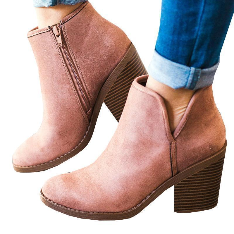Yofootwear Suede Chunky Boots