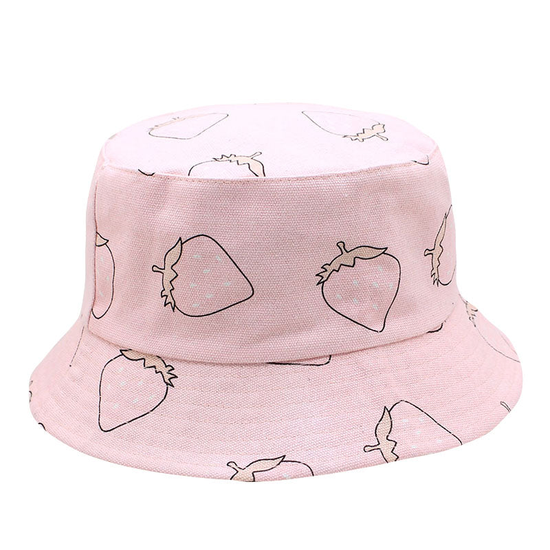 Pink Strawberries Foldable Rosa Bucket