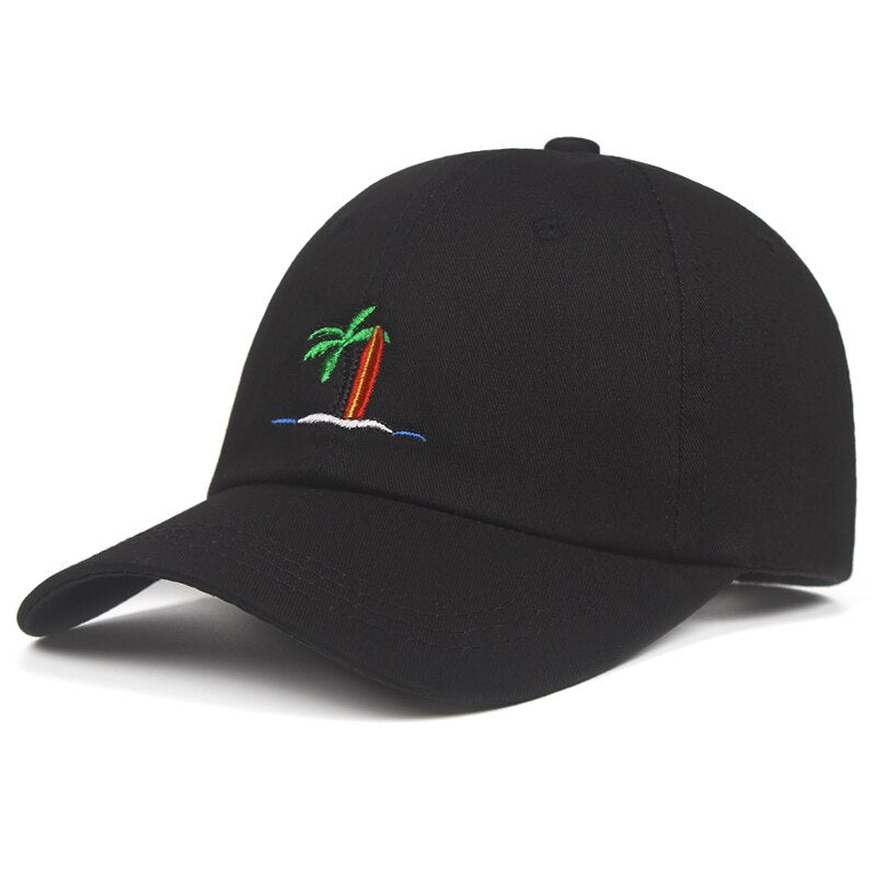 Palm Trees Surfboard Svart Dad Hat