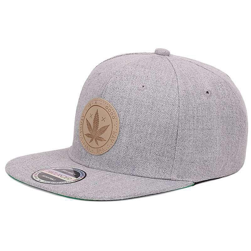 Cannabis Leaf Patch Grå Snapback