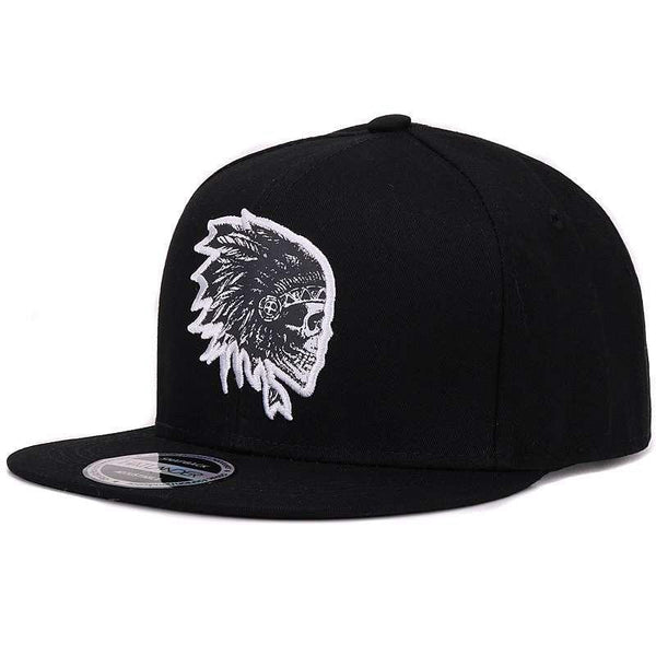Indian Skull Chief Svart Snapback