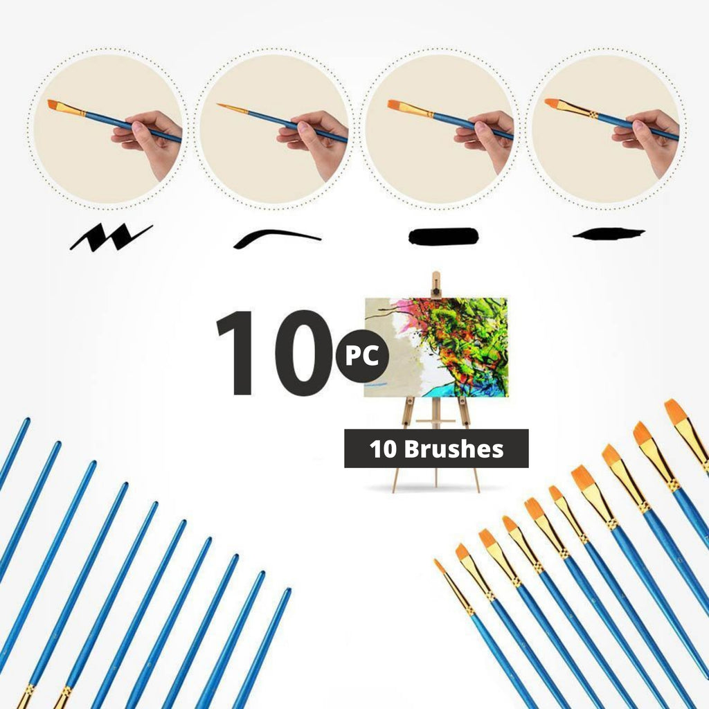 Brush Set for Acrylic Paint 10pc  - Different Shapes and Sizes