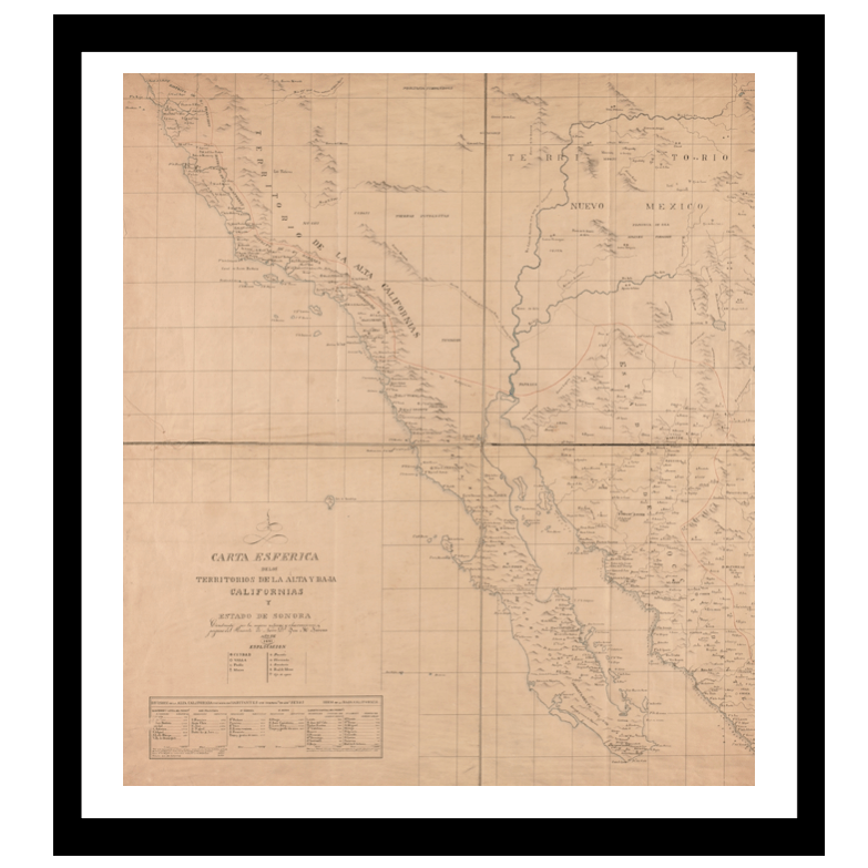 Alta California, Baja Califoria y Sonora (1825)