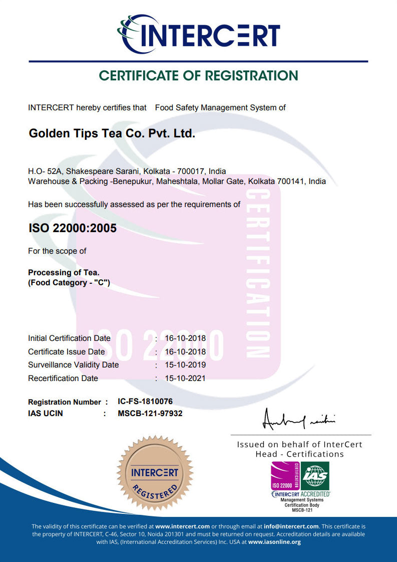 Golden Tips Tea ISO CERTIFICATE