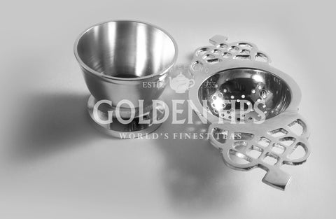 Stainless Steel Tea Strainer (Silver) - Golden Tips Tea (India)