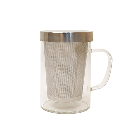 Glass Mug & Steel Lid & Fine Steel Mesh Infuser - Golden Tips Tea (India)