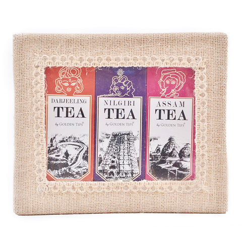 3-in-1 Delightful Teas (Darjeeling, Assam & Nilgiri) in Handcrafted Jute Box - Golden Tips Tea (India)