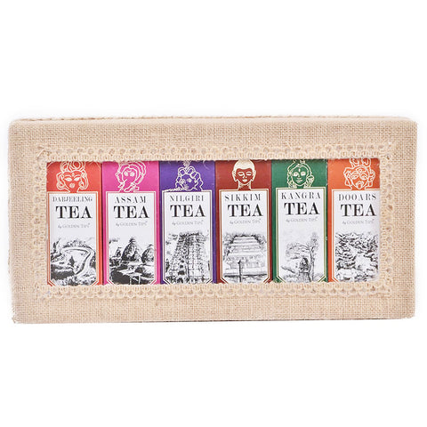 6-in-1 Delightful Teas (Darjeeling, Assam, Nilgiri, Sikkim, Kangra & Dooars) in Handcrafted Jute Box - Golden Tips Tea (India)