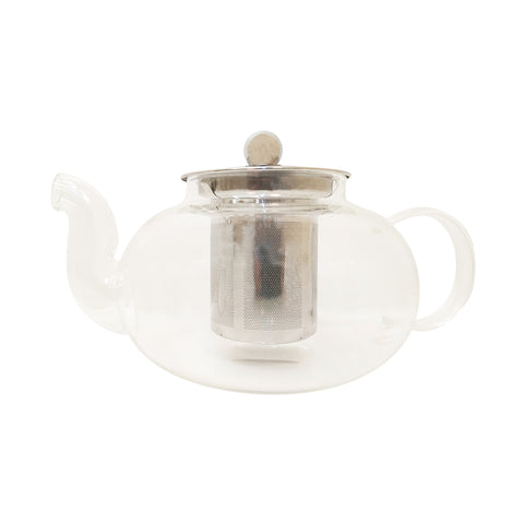 Glass Tea Pot with Spout  Fine Steel Mesh Infuser & Lid - Golden Tips Tea (India)