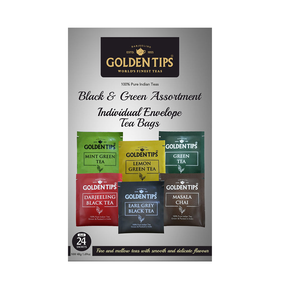 Golden Tips Black & Green Assortment Individual Envelope Tea Bags - Golden Tips Tea (India)