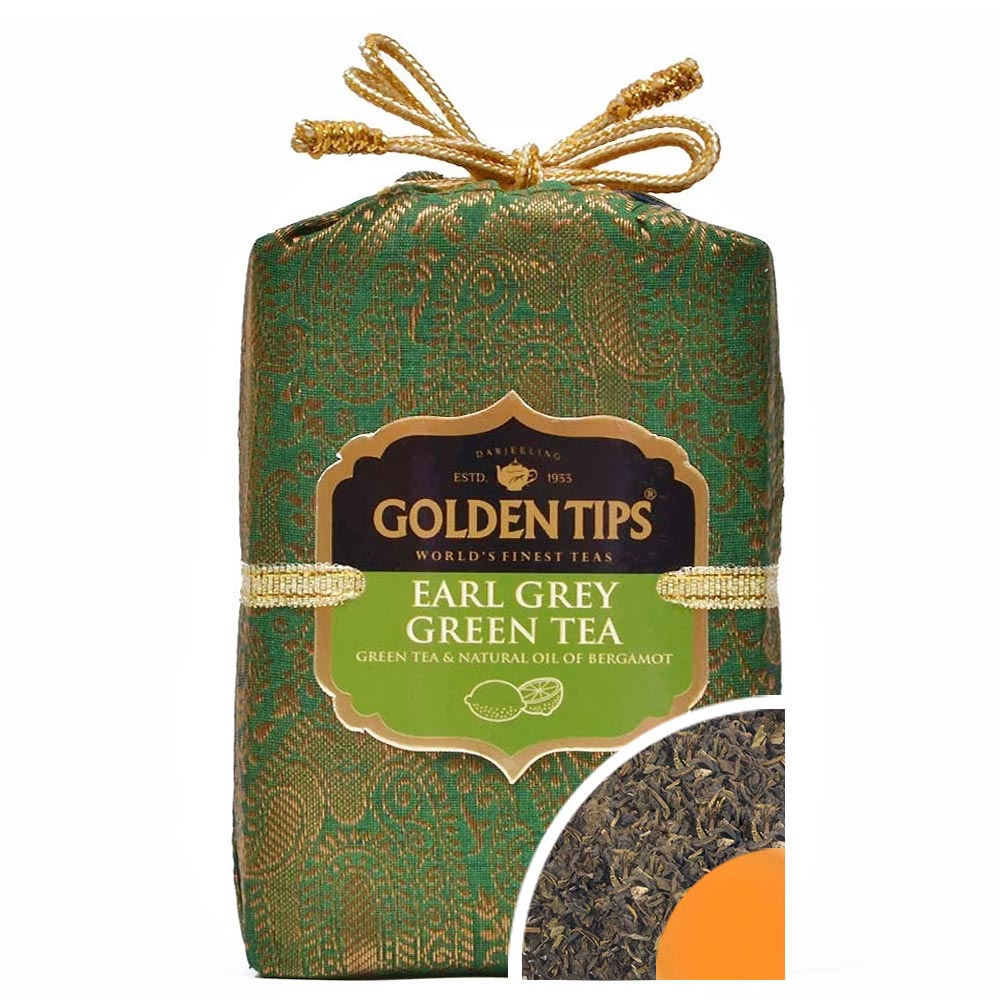Earl Grey Green Tea - Royal Brocade Cloth Bag - Golden Tips Tea (India)