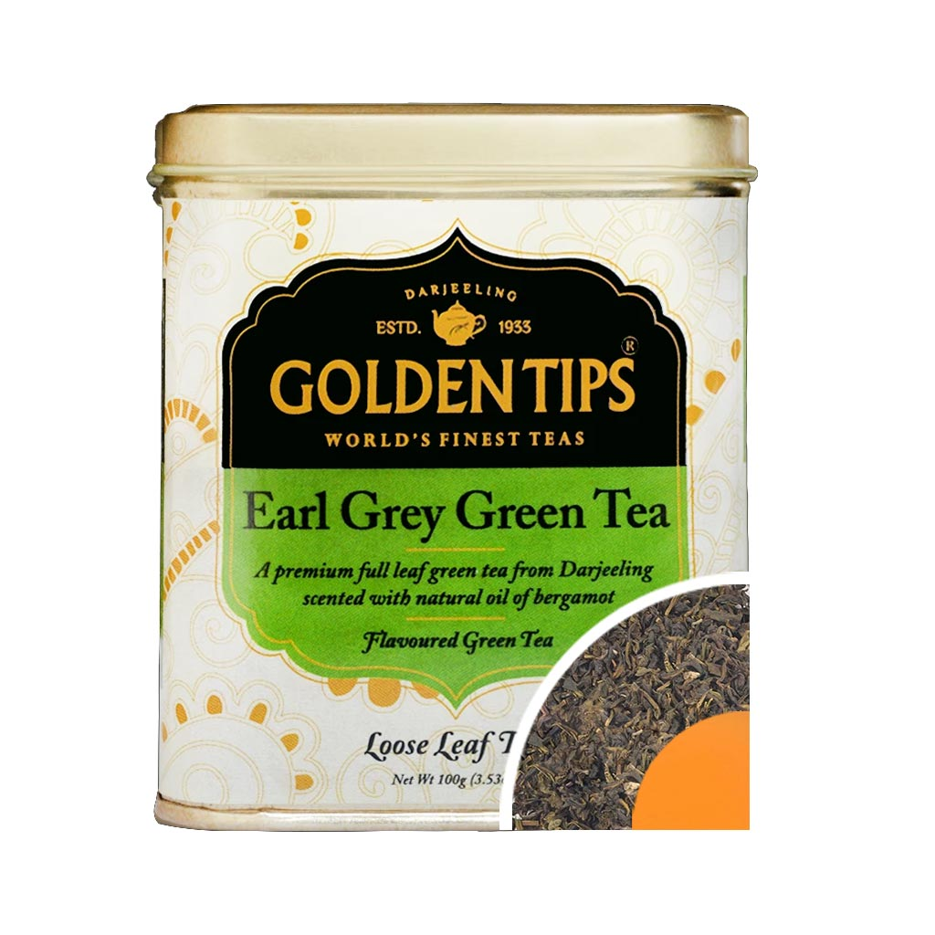 Earl Grey Green Tea Tin Can (100gm) - Golden Tips Tea (India)