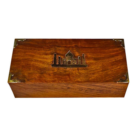 Premium Black & Green Darjeeling Teas in a Carved Wooden Box With Brass Work - Golden Tips Tea (India)