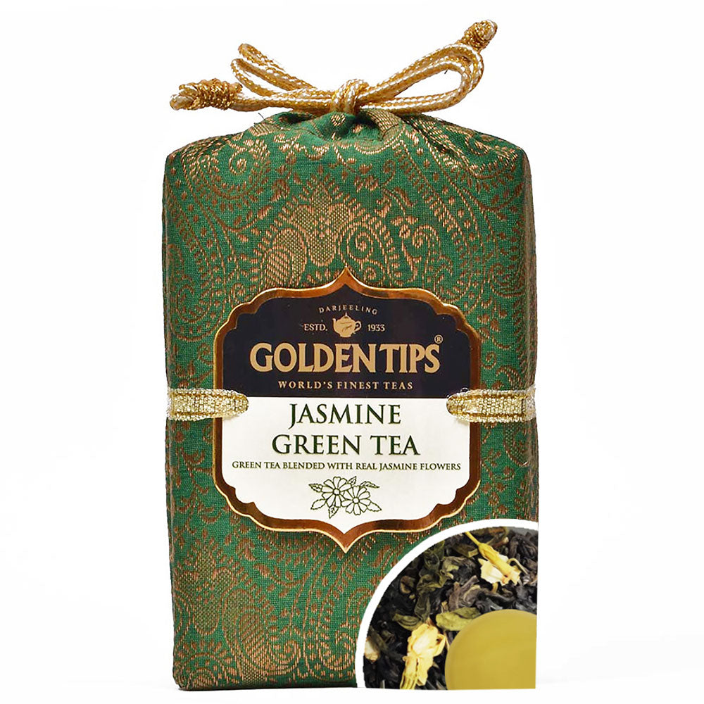Jasmine Green Tea - Royal Brocade Cloth Bag - Golden Tips Tea (India)