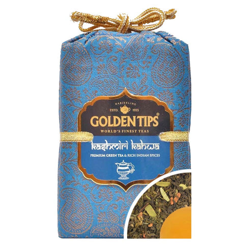 Kashmiri Kahwa - Royal Brocade Cloth Bag - Golden Tips Tea (India)