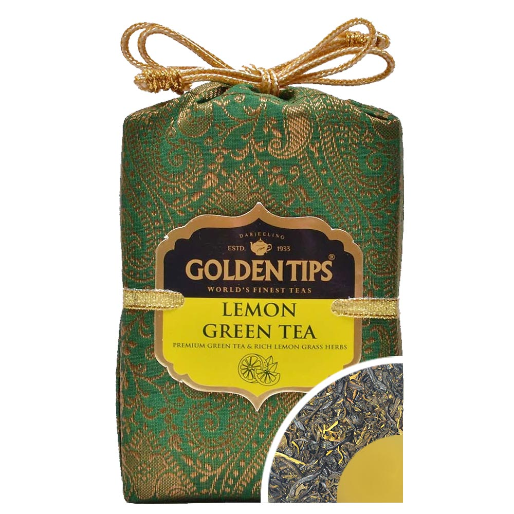 Lemon Green Tea - Royal Brocade Cloth Bag
