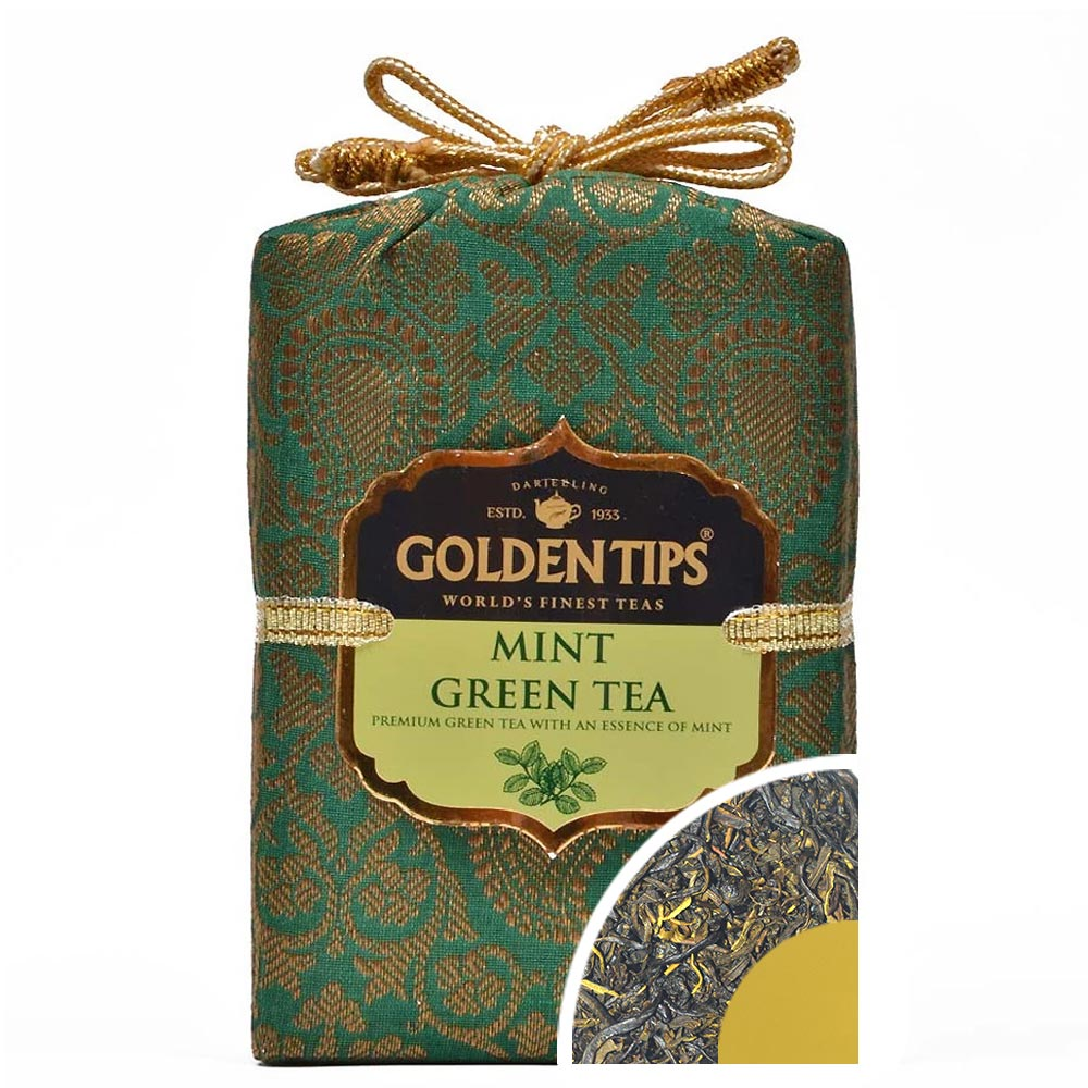 Mint Green Tea - Royal Brocade Cloth Bag - Golden Tips Tea (India)