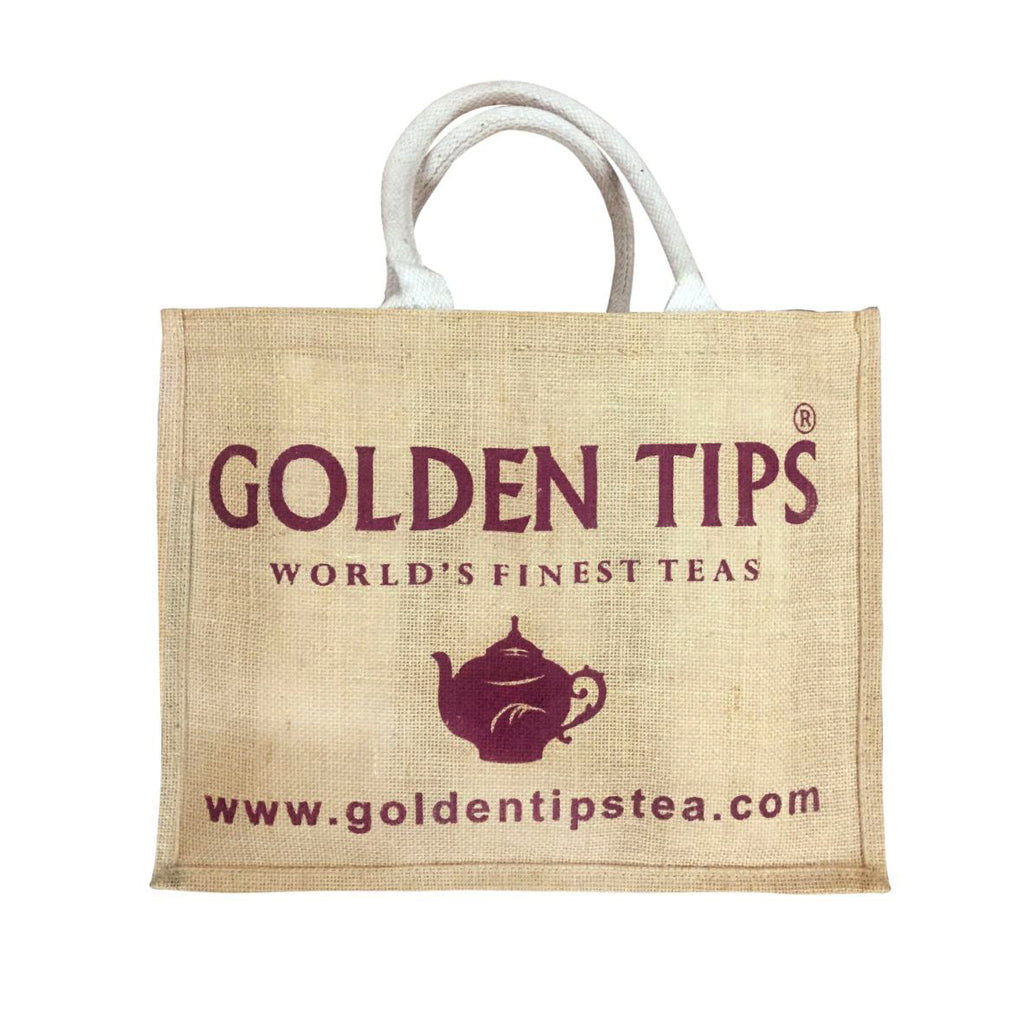Set of 2 (two) Golden Tips Printed Multipurpose Jute bags / Gift bags (32x15x41 cm) - Golden Tips Tea (India)