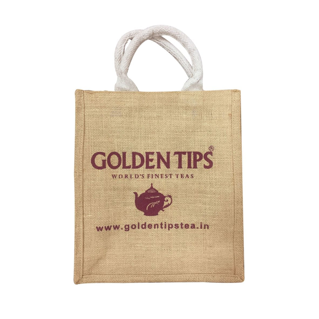 Set of 2 (two) Golden Tips Printed Multipurpose Jute bags / Gift bags (31x28x9 cm)