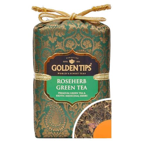 Roseherb Green Tea - Royal Brocade Cloth Bag - Golden Tips Tea (India)
