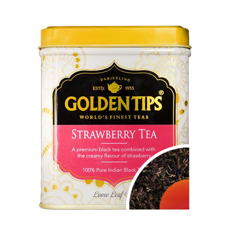 Strawberry Flavoured Black Tea - Tin can - Golden Tips Tea (India)