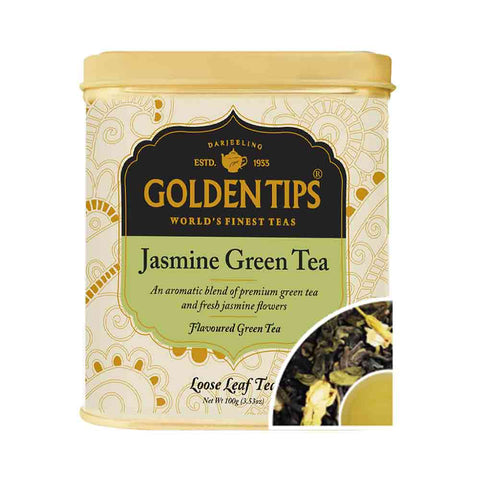 Jasmine Green Tea Tin Can (100gm) - Golden Tips Tea (India)