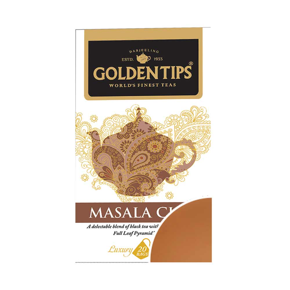 Masala Chai Full Leaf Pyramid -  Tea Bags - Golden Tips Tea (India)