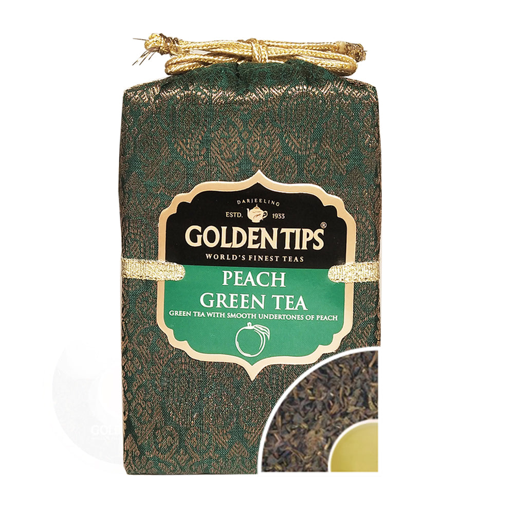 Peach Green Tea - Royal Brocade Cloth Bag - Golden Tips Tea (India)