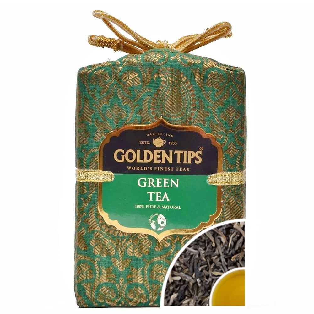 Pure Green Tea - Royal Brocade Cloth Bag - Golden Tips Tea (India)