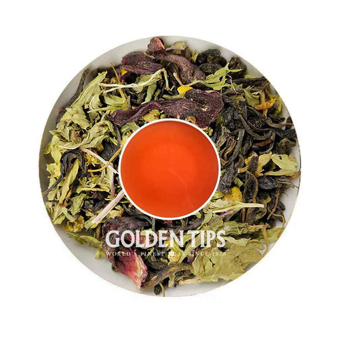 Supreme Synthesis Hibiscus - Stevia Green Tea - Golden Tips Tea (India)