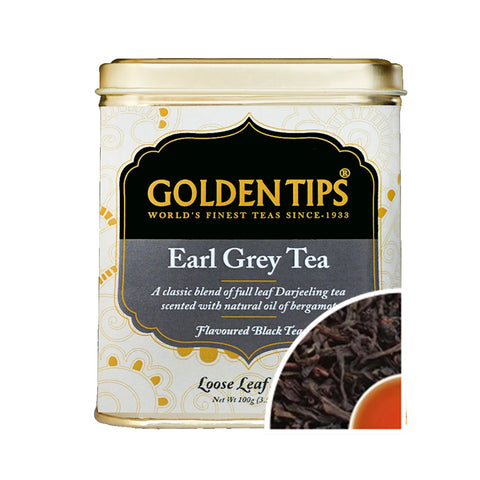 Earl Grey Tea Tin Can (100gm) - Golden Tips Tea (India)