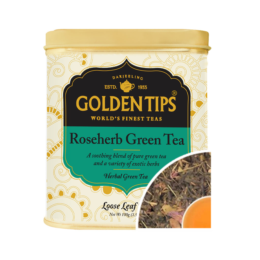 Rose Herb Green Tea Tin Can (100gm). - Golden Tips
