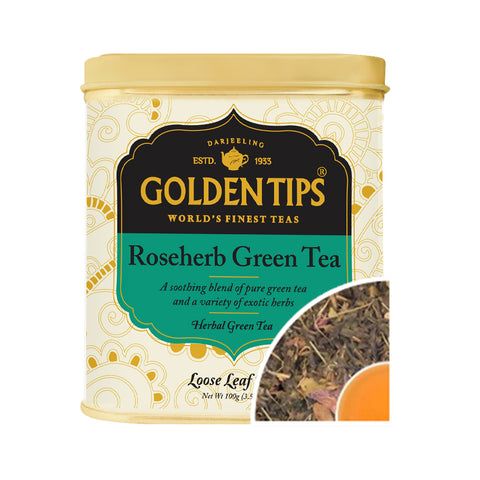 Rose Herb Green Tea Tin Can (100gm). - Golden Tips Tea (India)