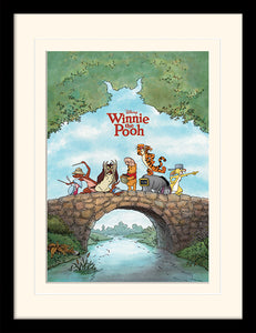 Winnie the Pooh 'Bridge' Mounted and Framed Print