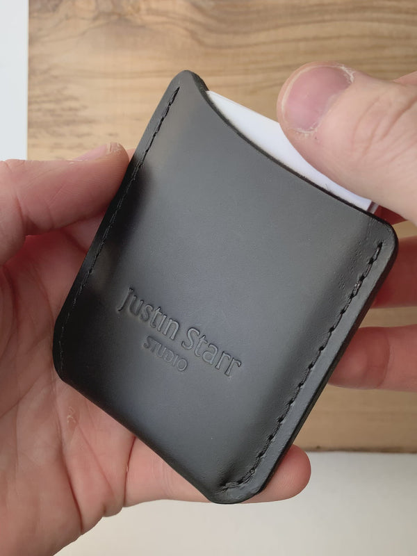 Card Wallet in Black Buttero leather