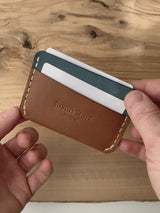 Whiskey Nubuck Slim Wallet | White Thread