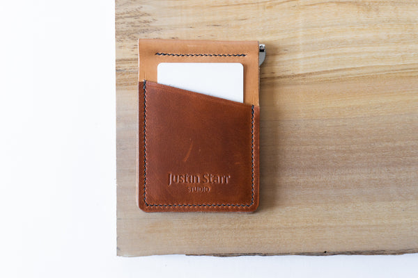 Cavalier Clip Wallet with Black Stitching