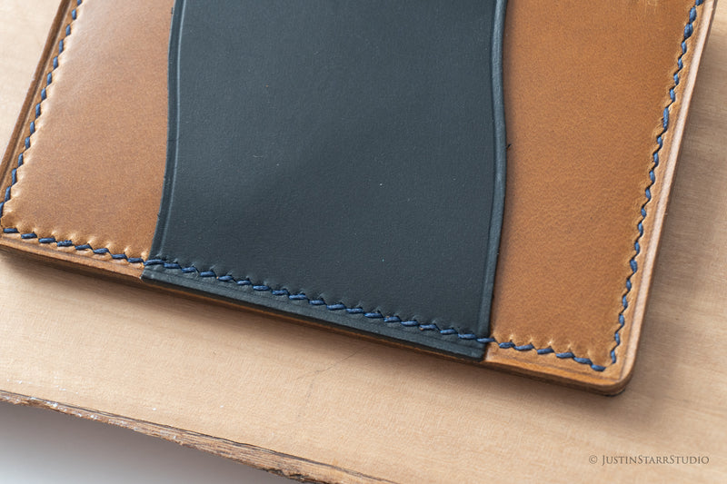 No.33 in Blue & Tan Heritage Leather with Blue Stitching