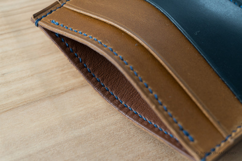 No.55 in Blue & Tan Heritage Leather with Blue Stitching