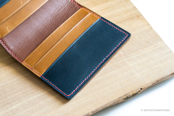 No.77 in Blue & Tan Heritage Leather with Red Stitching