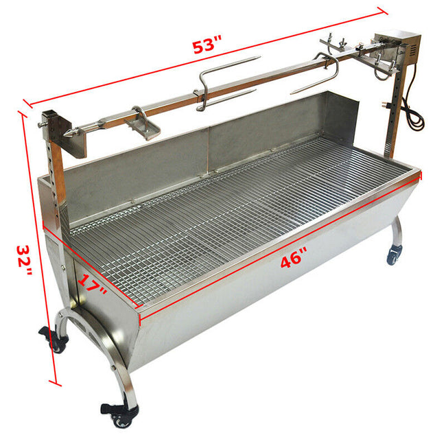 Stainless Steel BBQ Pig Lamb Goat Chicken Spit Roaster Rotisserie Spit 46""