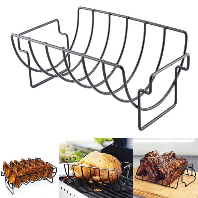 Non-stick Rib Rack Stand Grilling Basket